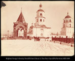 Image of Old Church of Our Savior and arch commemorating visit of Zorowich in 1891, Irkutsk