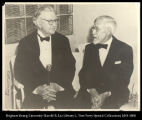 Image of Photograph of elderly Mr. Jackson sitting on couch and talking to E. W. Deming